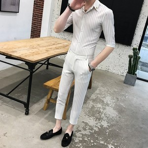 Grey Striped Men Suit Short Shirt With Pant Slim Fit Fashion Business Formal Men Suits Casual Dress Tuxedo Smoking costume Homme