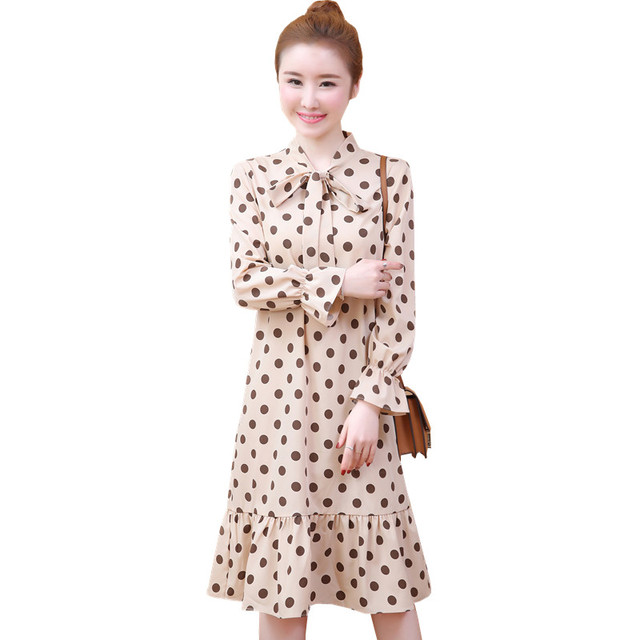 2019 New Spring Fashion Women dress Bow Polka Dot Loose In Long Dresses 959