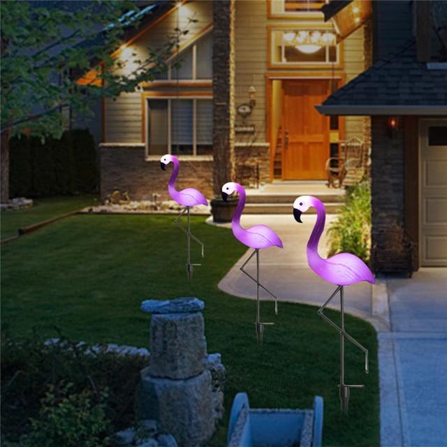 Meilleur Prix 3 Pièces Lampe De Jardin Solaire Led Flamingo Pelouse