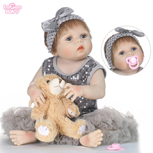 Logeo Baby Full Silicone Reborn Doll 22 Girl Vinyl Newborn Model Dolls  Bebes lol Bathing Toys