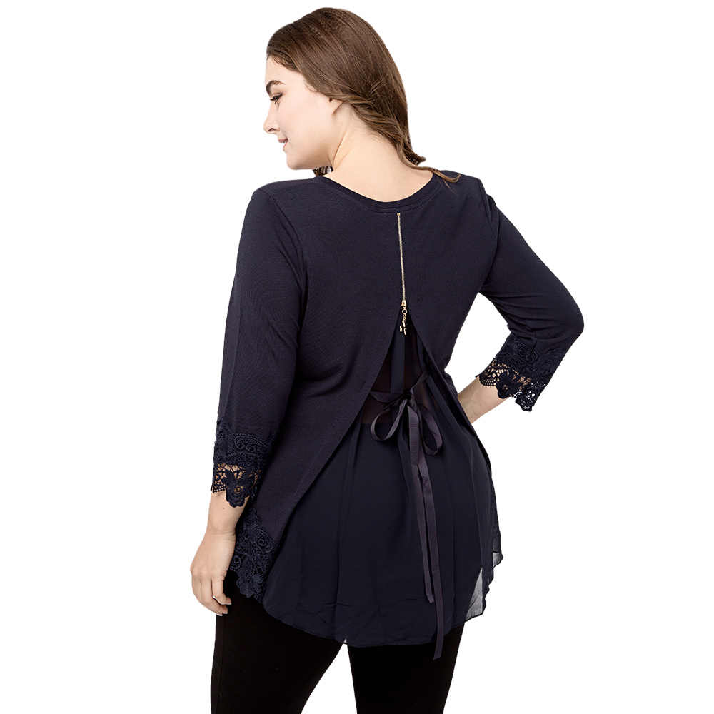 Wipalo Women Lace Crochet Spliced Mesh Back Zipper Bowknot Plus Size T-Shirt  Round Collar 653ec0e3075c