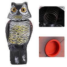 Realistic Bird Scarer Rotating Head Sound Owl Prowler Decoy Protection Repellent Bird Pest Control Scarecrow Garden Yard Move