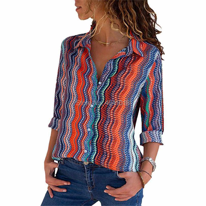 Женская шифоновая блузка с длинным рукавом полосатая рубашка отложным
