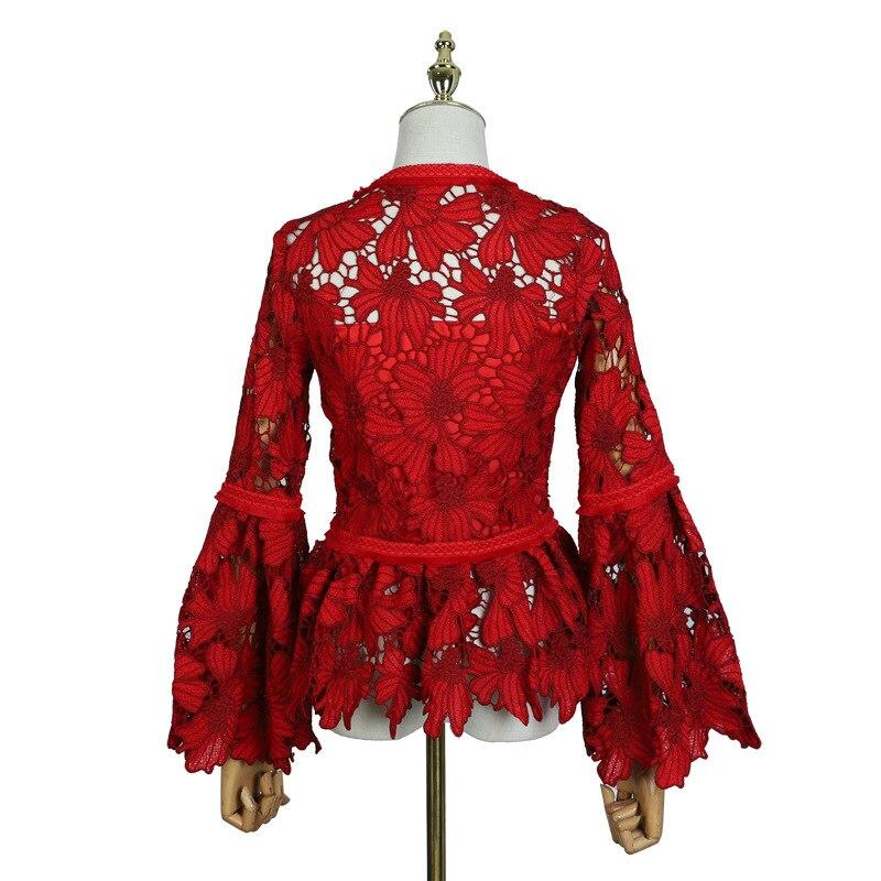 Steampunk Gothic Runde Kragen Rosen Blumen Flare Long Sleeve Schwarz Sexy Spitze Shirt Für Frauen Punk Aushöhlen Swallow schwanz Hemd - 4
