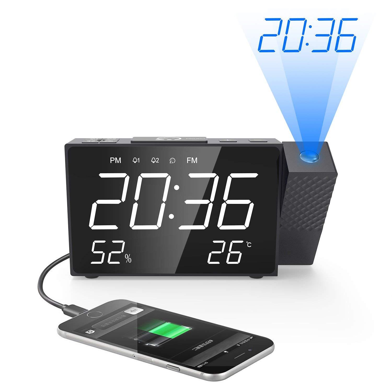 Projection Alarm Clock Digital FM Radio Dual Alarm Volume Snooze Time Humidity Temperature DisPlay Multi functional Led Clock