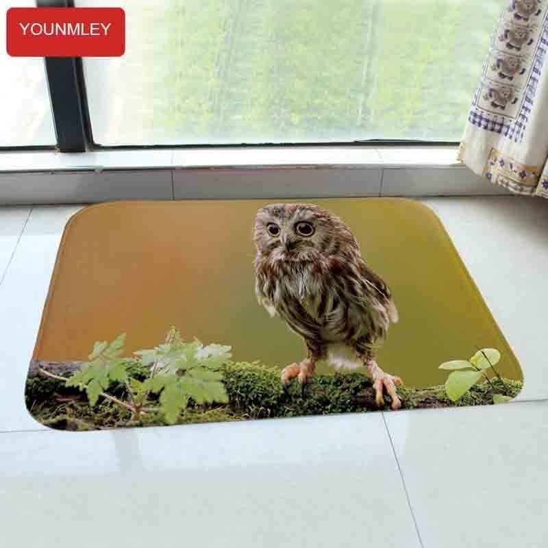 Europe Cute Owls Birds Printed Carpet 40x60cm Floor Mat Bathroom Doormat Fleece Fabric Door Mat Water Absorb Non-slip Washable