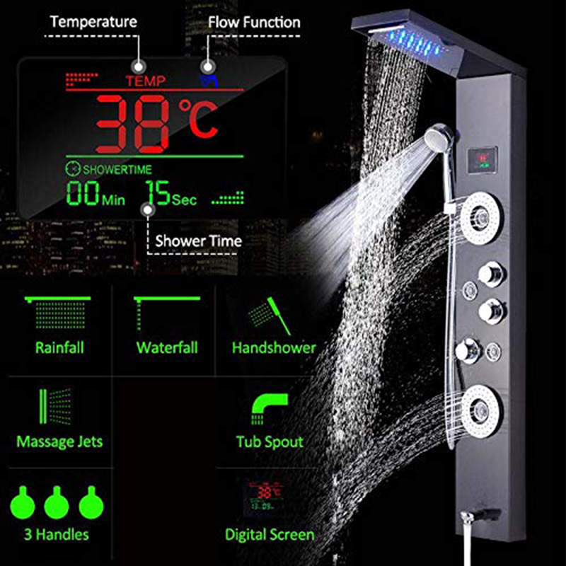 Shower Faucets Shower Equipment Newly Luxury Black/brushed Bathroom Shower Faucet Led Shower Panel Column Bathtub Mixer Tap With Hand Shower Temperature Screen