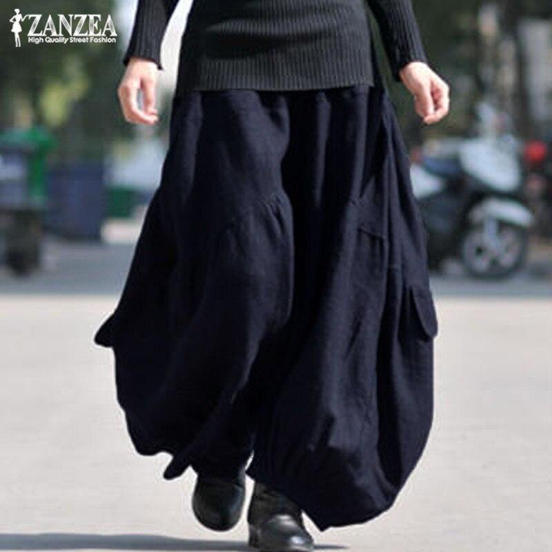 Cargo Pants Women Wide Leg Tousers Vintage Casual Linen Pantalon Palazzo 2019 ZANZEA Female Elastic Waist Baggy Pants Oversized