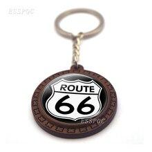 Estrada estrada 66 sinal preto marrom de madeira chaveiro de vidro cabochão jóias pingente de viagem masculino feminino chaveiro viajante presente