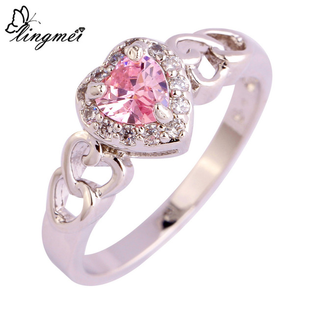 lingmei Wholesale Lady Heart Cut Sweet AAA Multi- CZ Silver Ring Size 6 7 8 9 10 11 12 13 Love Engagement Jewelry