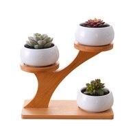 White Ceramic Flowerpot 3 Tier Bamboo Shelf Modern Household Minimalist Plants Pots Bonsai Planters Garden Decor Free of Plants
