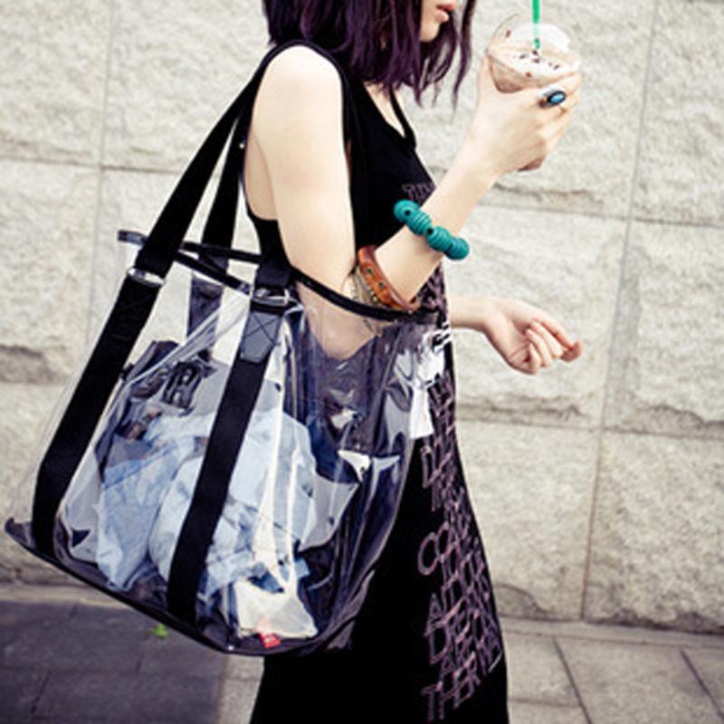 Women New Trend Tote Transparent PVC Handbag Beach Shoulder Bag Hot Sale Jelly Color Plastic Clear Bag Large CGift Shopping Bags