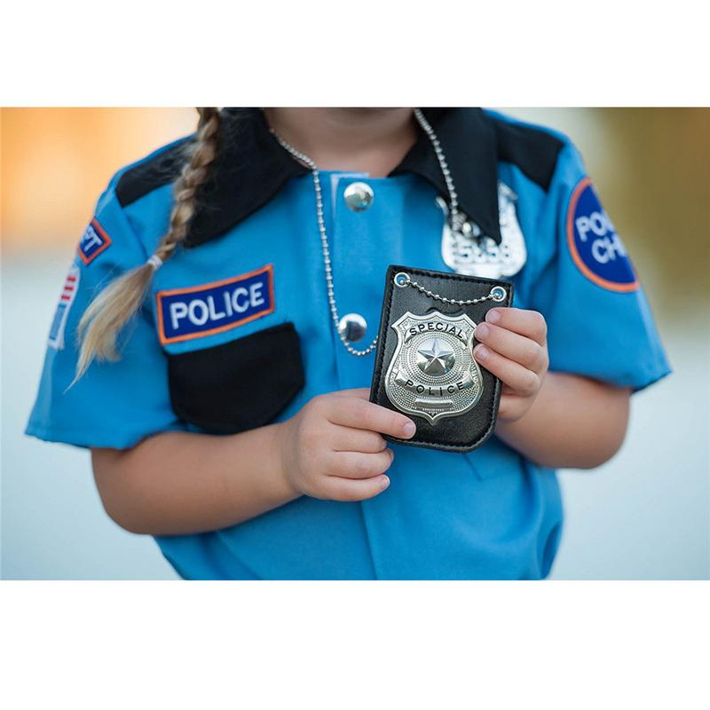2019 New America <font><b>Police</b></font> Role Play Toy Dress Up Pretend Play America <font><b>Police</b></font> Special Badge With Chain And Belt Clip image