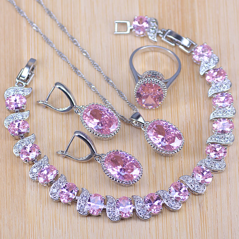 Natural Pink Crystal 925 Silver Costume Jewelry Sets White Zircon Bracelets Pendant&Necklace Rings Earrings