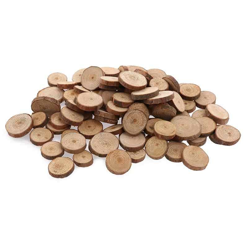 OULII 100pcs 1.5-3CM Wood Log Slices Discs for DIY Crafts Wedding Centerpieces (Wood Color)
