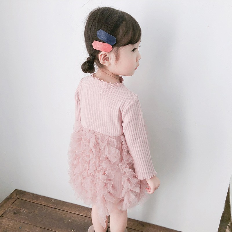 2019 Cotton Long Sleeve Knitted Kids Dresses For Girls Toddler Clothing Baby Girl Drees Tulle Patchwork Grey Pink White Spring 2