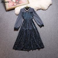 2019 spring new female Net yarn waist wild long sleeved dress stars Velvet women's dresses chrismas Xnxee