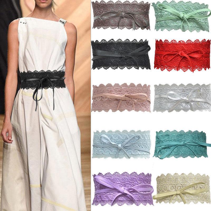 2019 Fashion Sexy Women Soft Solid Lace Wide Self Tie Wrap Around Waist Band Cinch Boho   Belt   175cm 11 Colors