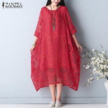 3370622116 49.83 zł. Plus rozmiar perspektywy druku sukienka 2019 ZANZEA czeski ...