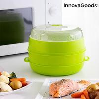 InnovaGoods مزدوجة الميكروويف باخرة جعلت طازجة من BPA الحرة PP غطاء مع البخار تنظيم صمام 2 المقصورات غسالة صحون آمنة