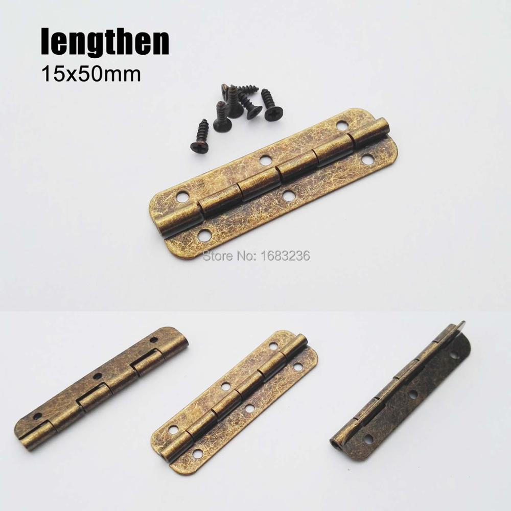12pcs Antique Brass Mini Hinges for Jewelry Gift Wooden Box Drawer Cabinet Chest