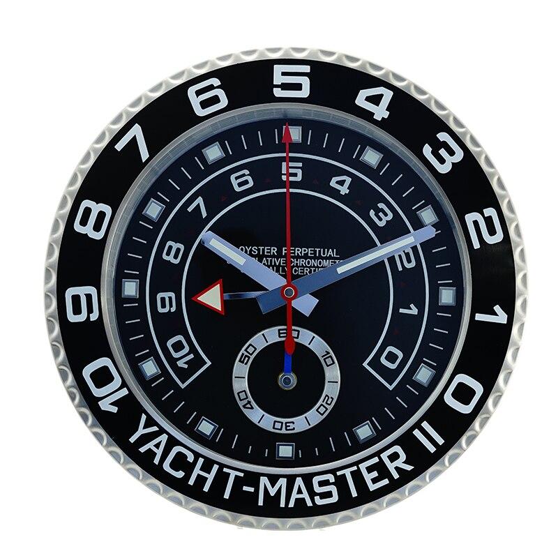 ファッション高級金属の時計形状壁条件クロック最高のギフトの壁時計ナイトライトステンレスミュート時計  グループ上の ホーム&ガーデン からの 壁時計 の中 1