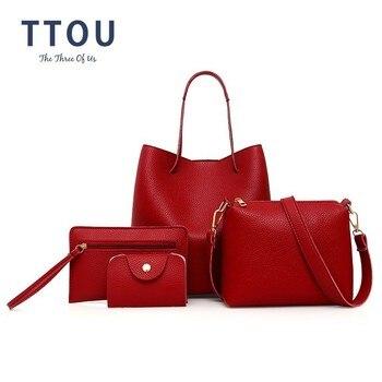 TTOU Women Fashion Solid Handbag Female Casual PU Leather Tote Bag Large Composite Bags 4 Pieces Bolsa Feminina tote bag