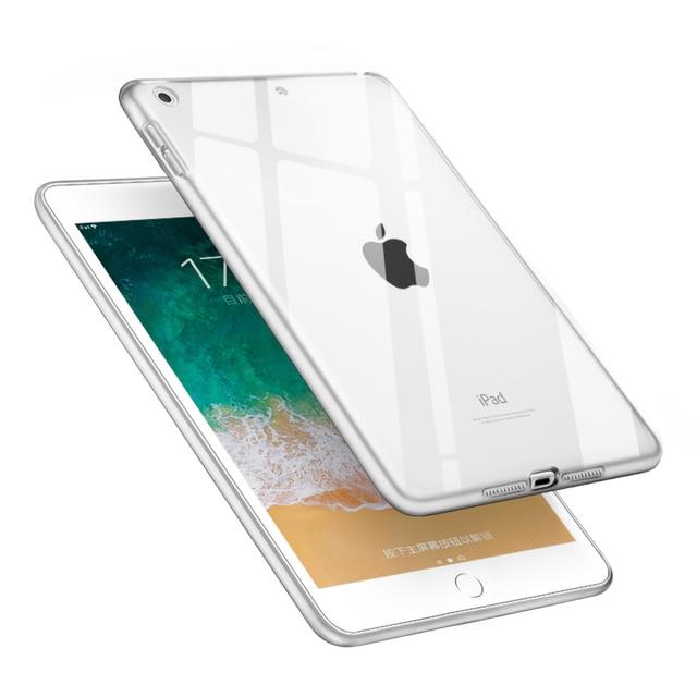 Đối với iPad Mini 5 Trường Hợp 2019 Rõ Ràng Mềm TPU Gel Silicone Bumper Trường Hợp Trở Lại Da Bảo Vệ Suốt Bìa đối với Apple iPad Mini 5