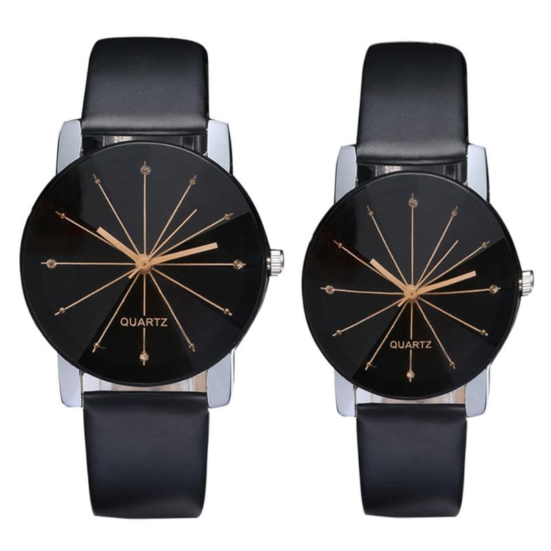 New Fashion Women Men's Watch Top Lover Dial Clock Leather Quristwatch