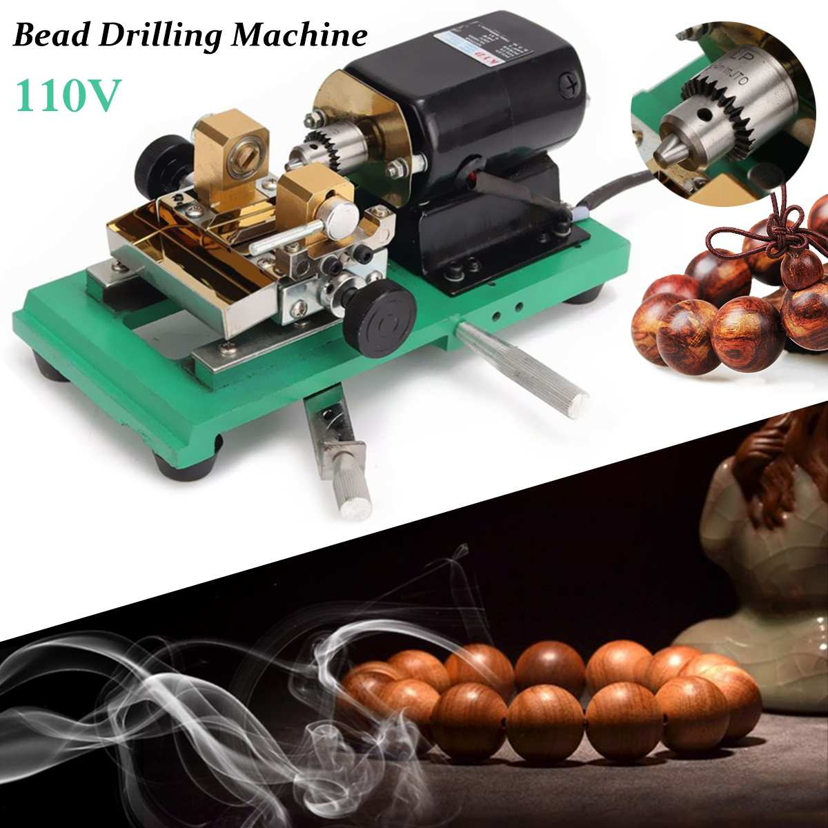 300W CNC Mini Lathe Machine Tools DIY Woodworking Buddha Pearl Grinding Polishing Beads Wood Lathe Drill Rotary Tool 110V