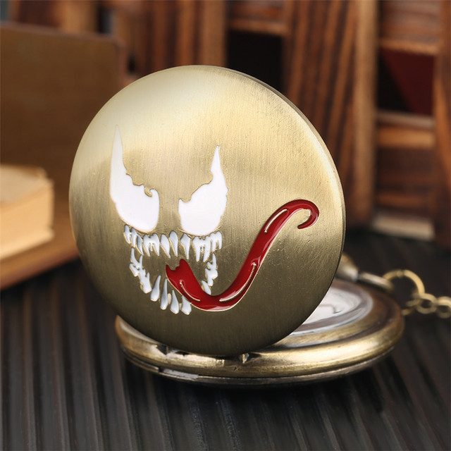 Bronze Pendant Pocket Watch Quartz Evil Spririt Long Tongue Design Full Hunter N