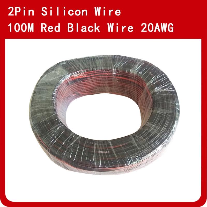 100 m 20AWG double fil Silicone rouge noir 100/0. 08TS Ultra flexible câble de ligne de Test haute température
