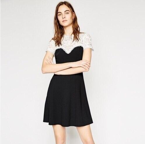 2e2fc9fe977 Manches-courtes-dentelle-blanche-Patchwork-noir-femmes-robe-douce-d-t -mode-dame-l-gante-robe.jpg