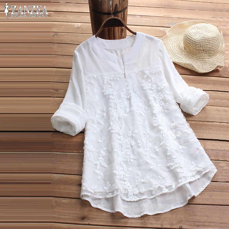 f681d95350 ... ZANZEA Plus Size Tunic Tops Women Embroidery Blouse 2019 Fashion Female  Long Sleeve Party Shirt Lady ...