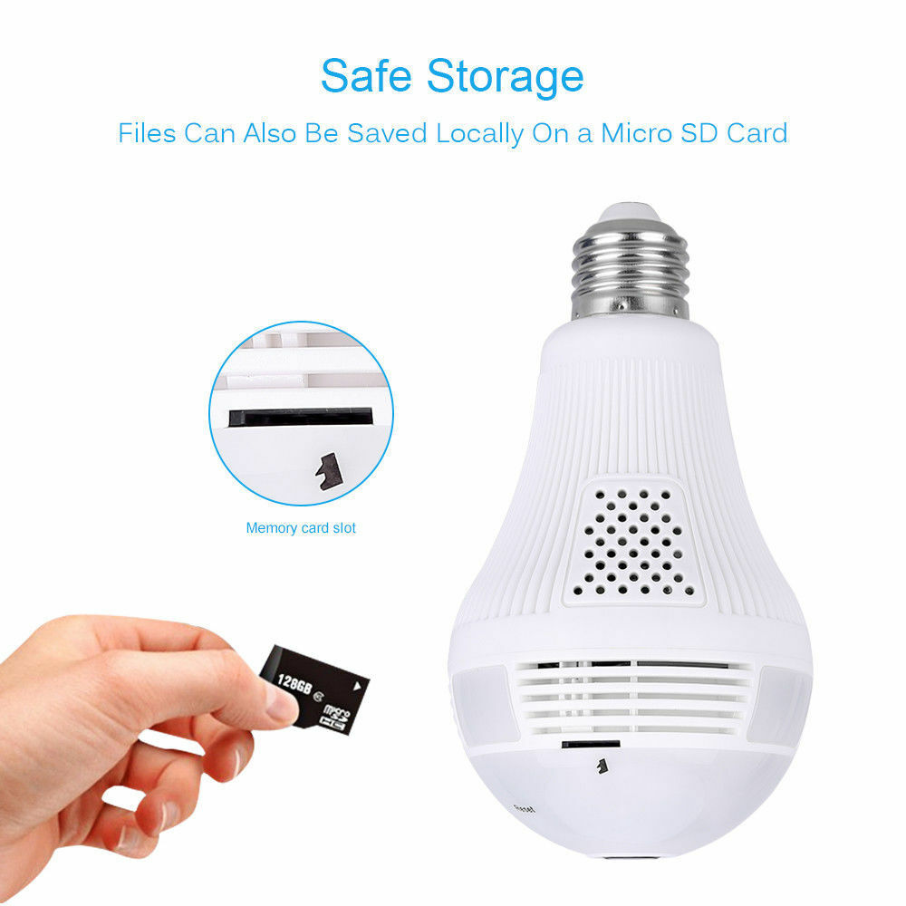 HD Wifi Bulb Camera 360 Panoramic Cam Light LED Bulb Camera Support TF Card