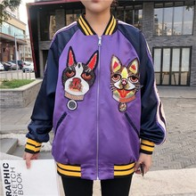#5409 Spring Autumn Embroidery Baseball Coat Women Clothing Pattern Short Bomber Jacket Harajuku Hip Hop Clothes Outerwear Tide
