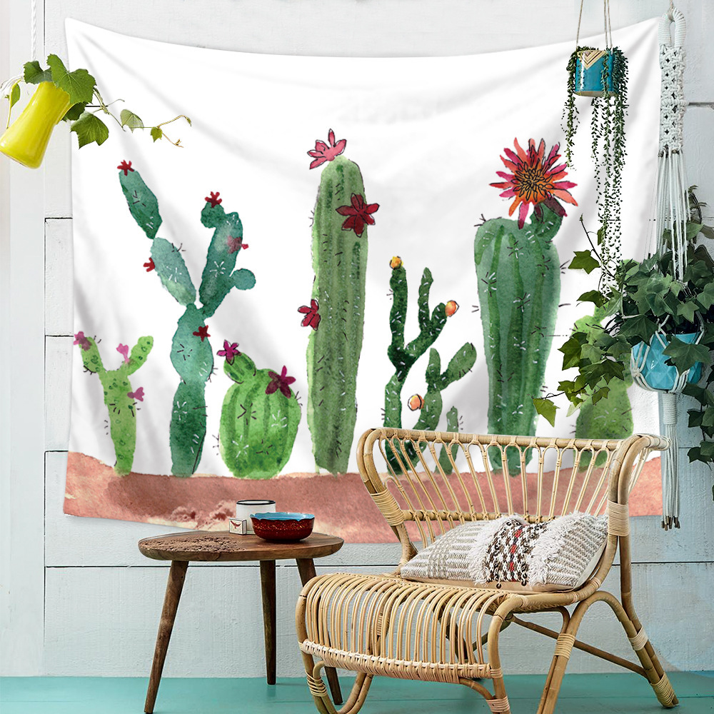 Hanging Wall Tapestries Bohemian Green Cactus Watercolor Mandala Hippie Boho Landscape Succulents Cactus Wall Decor Home Bedroom in Tapestry from Home Garden