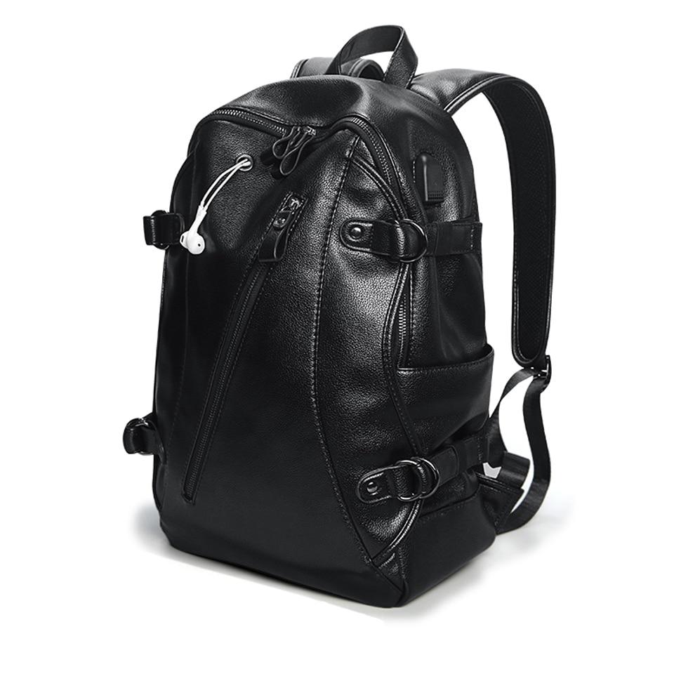 Waterproof Backpack Pu Leather Laptop Anti-thief Men Male Bagpack 15.6 inch