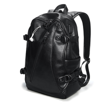 Waterproof Backpack Pu Leather Laptop Anti-thief Men Male Bagpack 15.6 inch