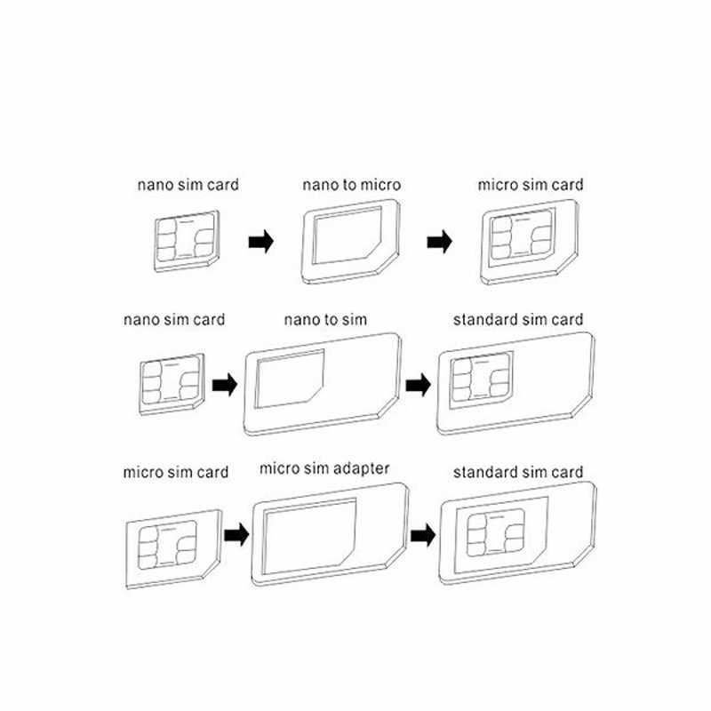 10 pces 4 em 1 adaptador de cartão sim converter cartão nanosim para micro adaptador padrão para o telefone móvel universal