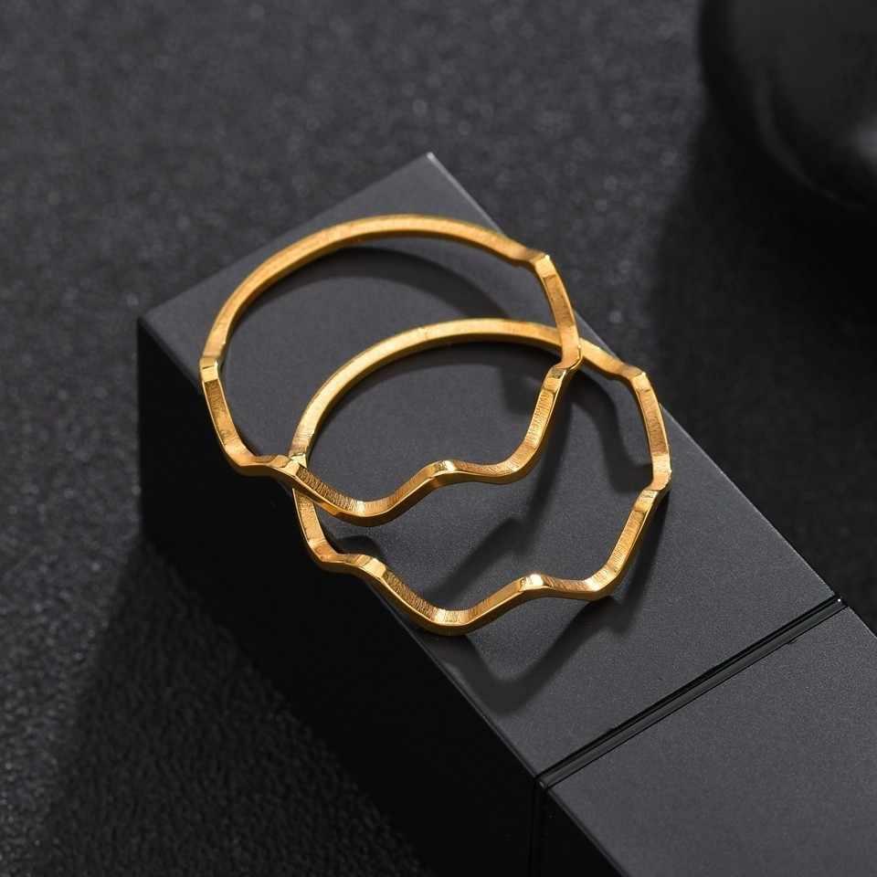 Phổ Biến Thiết Kế Uốn Cong Nhẫn Nam Handmade Nhẫn Cặp Đôi Inox Vàng Màu Bạc Tặng Hàng Ngày Đồng Nhẫn