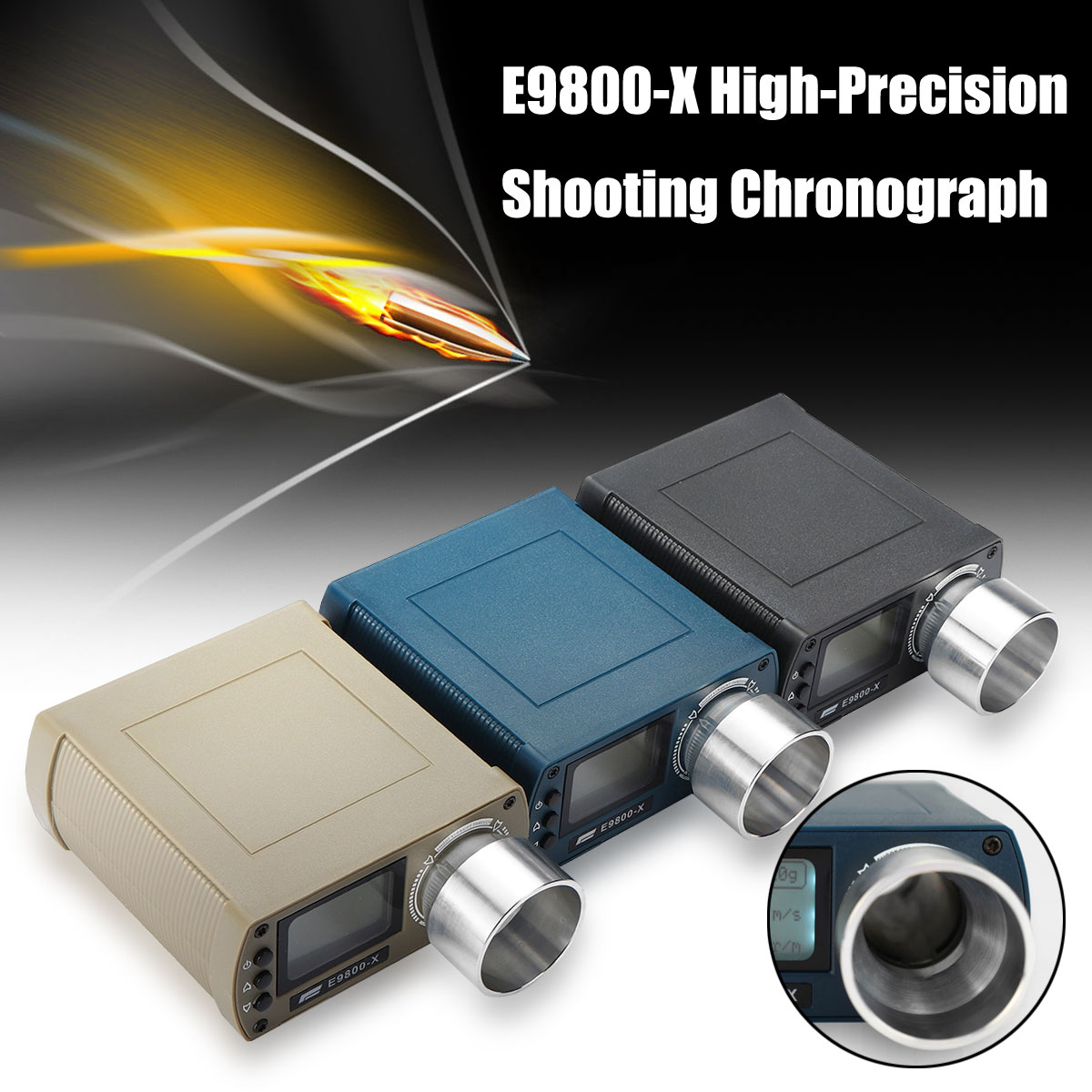 Airsoft BB E9800 X Shooting Speed Tester High Precision Shooting Chronograph 10C to 50C 0 500J Firing Kinetic Energy LCD Screen