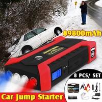 89800mAh Multifunction 1set Car Charger Battery Jump Starter 4USB LED Light Auto Emergency Mobile Power Bank Tool Kit