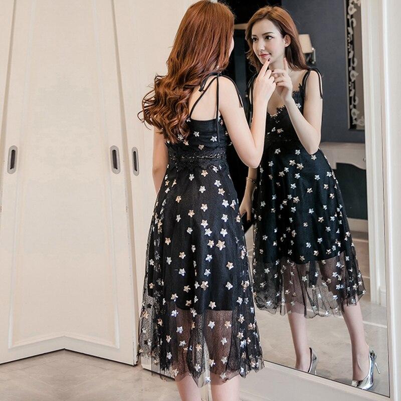 Women Midi Dress Glitter Sequined Stars V Neckline Crochet Lace Dress Sleeveless Backless Elegant Party Dresses Summer Sundress