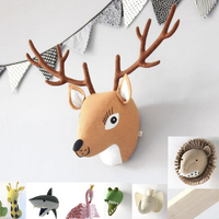 Elephant Lion Giraffe Tiger Deer Head Wall Mount Artwork Decor Doll Toys Animal Head Wall Decor for Kids Room Birthday Gift