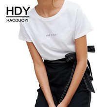 HDY Haoduoyi 2019 Summer New Girl Pure Color White Short Sleeve Simple Commuter Letter Print Solid Color Round Neck T-shirt