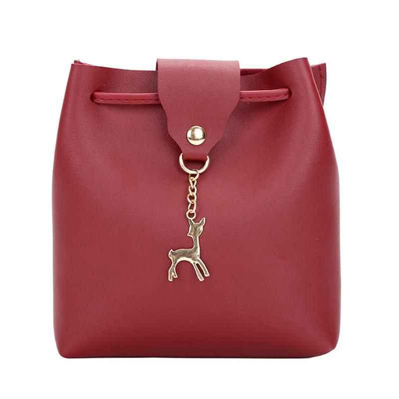 4b3e9a79e463 Small Bag Women Deer Bucket Bag Handbags Ladies Satchel Mini Shoulder  Messenger Bags Simple Design Cross Body Bag(Red)