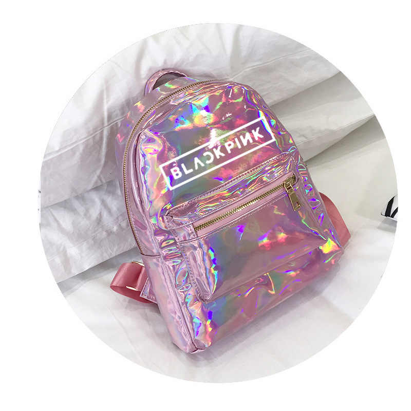 Korea  Kpop BLACKPINK Backpack girls teenage student school bags Laser women back pack leather College bagpack Silver PINK 2019