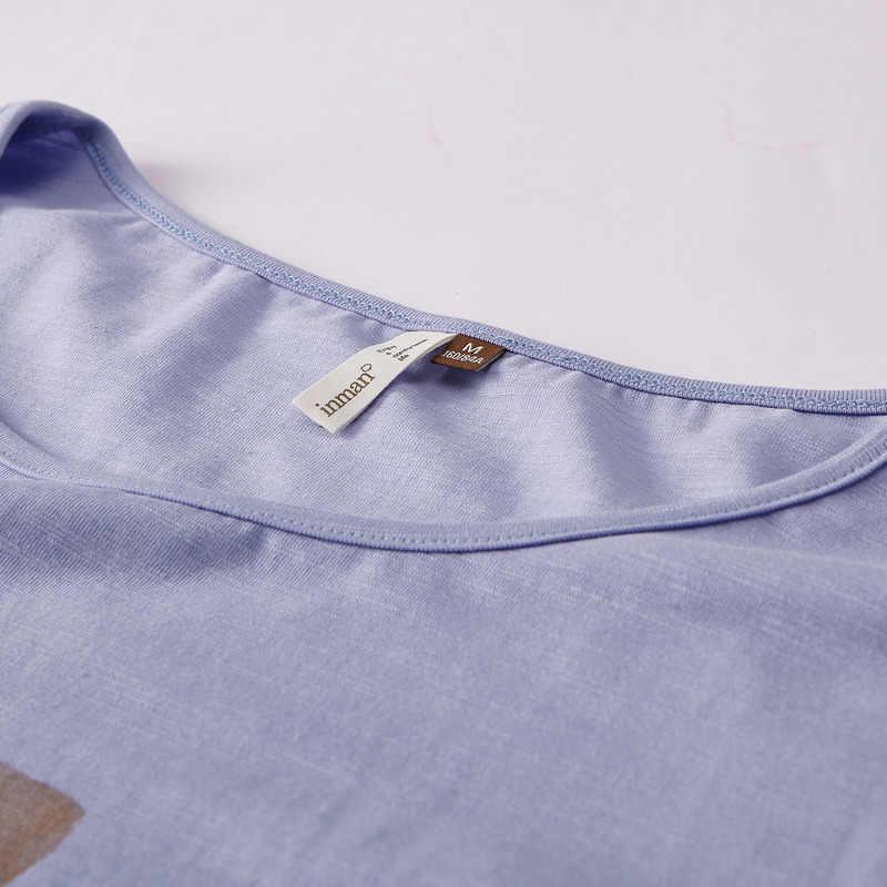 INMAN 여름 o-넥 인쇄 한국 패션 학생 스타일 모든 일치 느슨한 슬림 여성 t-셔츠