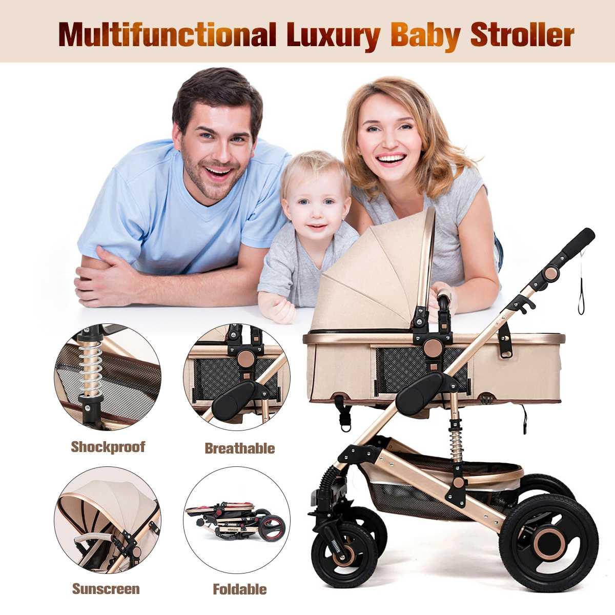 25 KG 8IN1 luxe bébé landau poussette poussette réversible poussette siège auto nacelle voyage système Buggy + FREEBIES